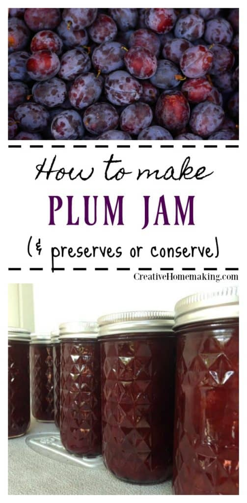Easy recipe for canning plum jam, preserves, or conserve.