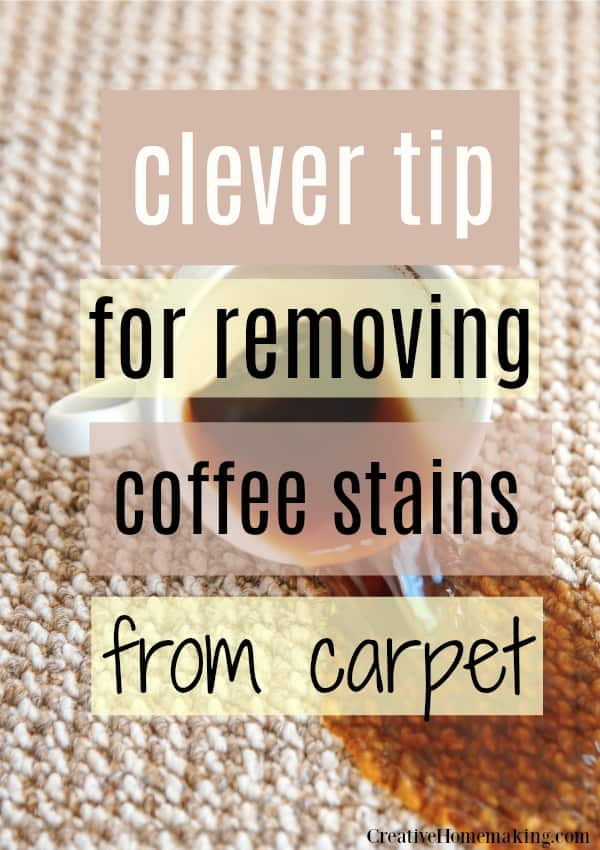 Clever tips for removing coffee stains from carpet. My favorite carpet cleaning hack!