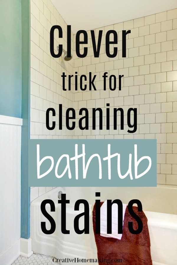 Clever hack for cleaning bathtub stains. One of my favorite bathroom cleaning tips.