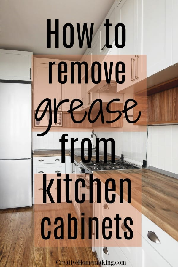 Easy tips for removing grease from kitchen cabinets. You will also discover the clever trick for cleaning sticky wood kitchen cabinets.