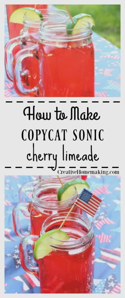 Easy Sonic copycat recipe for cherry limemade. Makes enough for a crowd, great for parties! One of my favorite summer drinks.
