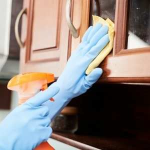 Easy DIY tips for cleaning kitchen cabinets. Some of my favorite kitchen cleaning tips!