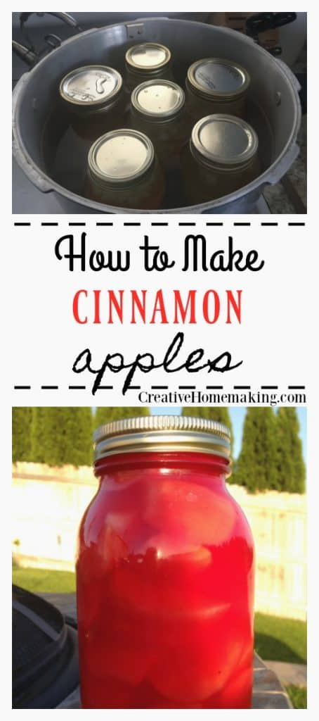 Easy recipe for canning cinnamon apples. One of my favorite fall apple canning recipes!