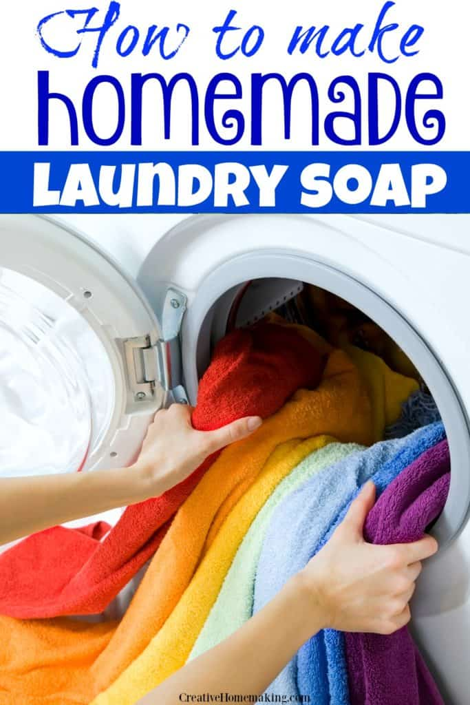 Easy homemade liquid laundry soap make from Borax, washing soda, and Fels Naptha. One of my favorite laundry washing tips.