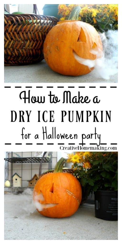 DIY dry ice pumpkin idea for a Halloween party. Easy outdoor Halloween decoration idea!