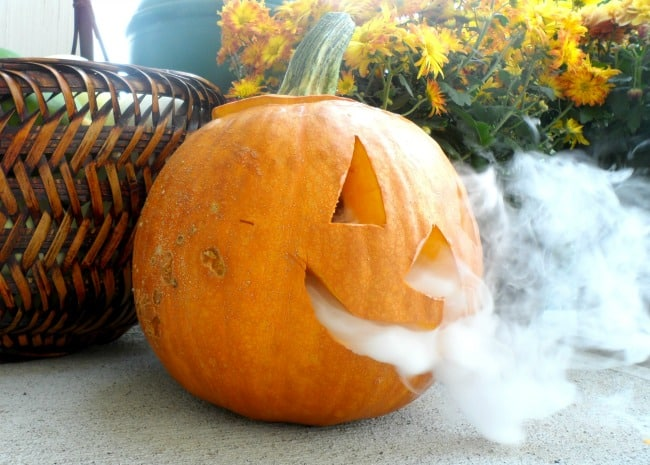 This smoking jack-o-lantern is a fun decoration to surprise your trick-or-treaters with for Halloween.
