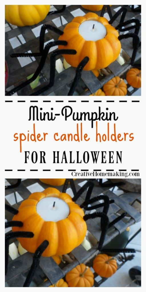 Mini pumpkin spider candle holders. Easy indoor or outdoor Halloween decoration idea!