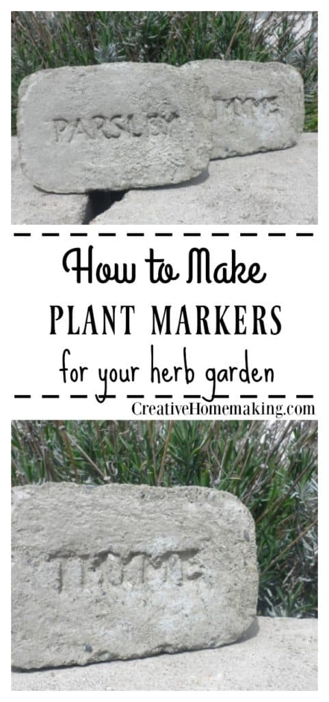 Easy DIY plant marker made of concrete for your herb garden.