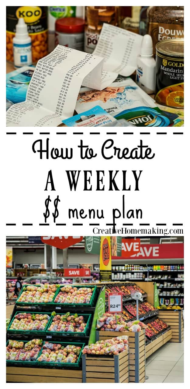 How to create a weekly menu plant. A few minutes of weekly menu planning every week can save you time and money too.