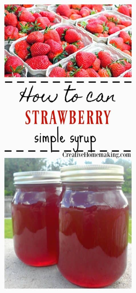 Easy recipe for canning strawberry syrup to put on pancakes, ice cream or mix into a homemade Italian Soda.