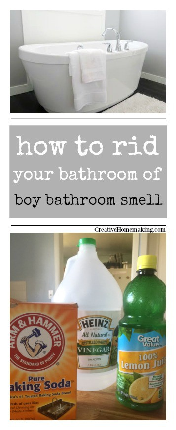 Cleaning tips for ridding your bathroom of the dreaded boy bathroom smell.