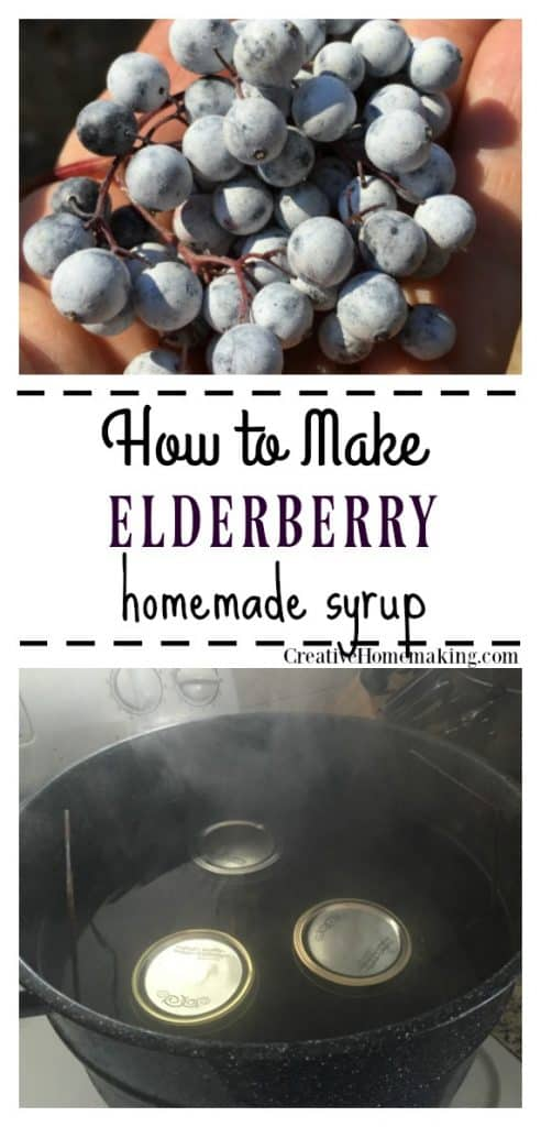Easy recipe for canning elderberry syrup.