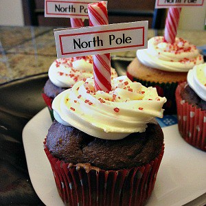 Easy recipe for North Pole cupcakes. One of my favorite holiday dessert recipe ideas!