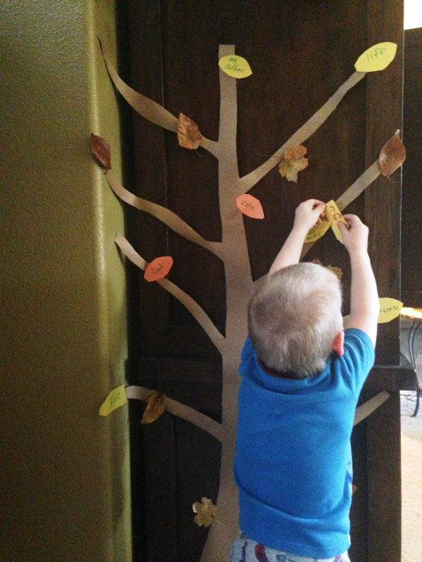This Thanksgiving blessing tree is a neat Thanksgiving tradition idea for families.