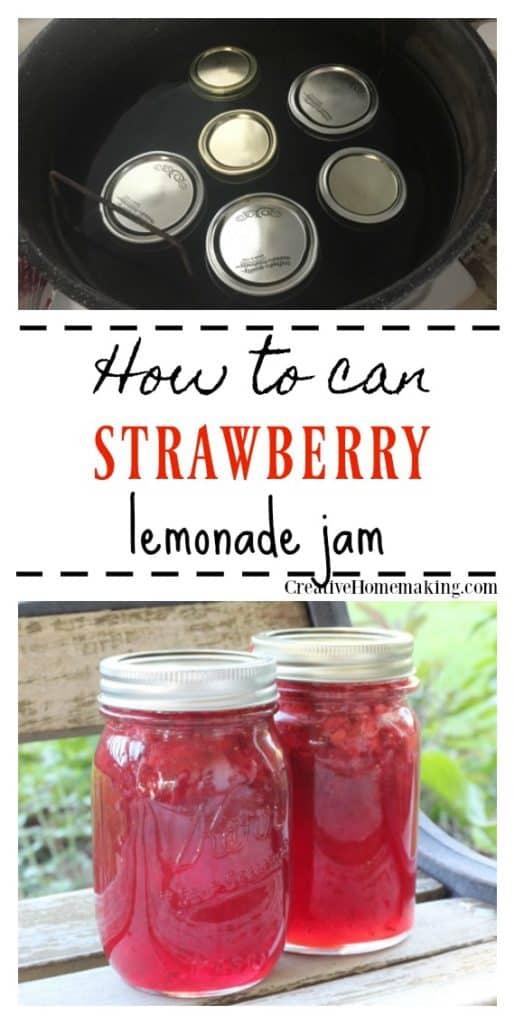 Canning strawberry lemonade jam. If you like strawberry lemonade, then you will love this easy homemade strawberry lemonade jam. Easy water bath canning for beginners.