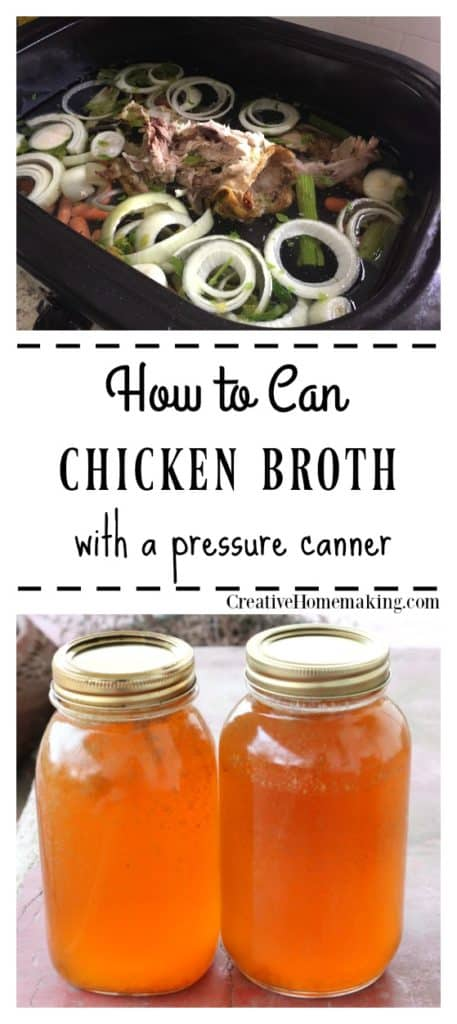 Jars of homemade canned chicken broth