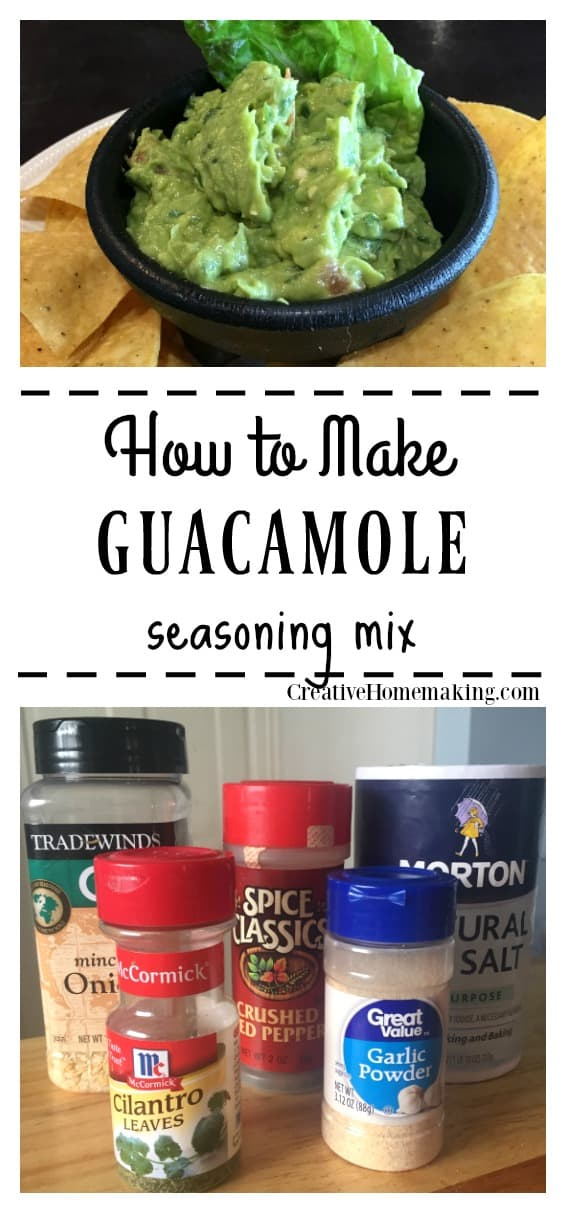 Easy guacamole seasoning mix recipe to serve with your favorite salsa, refried beans, flour tortillas, and taco dip.