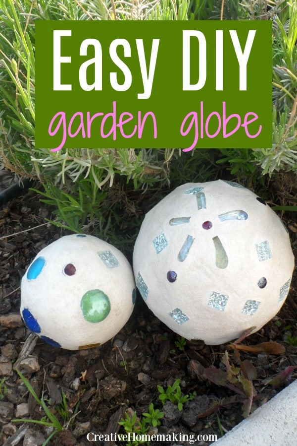 An easy weekend project, these DIY garden globes look like they are made out of concrete.