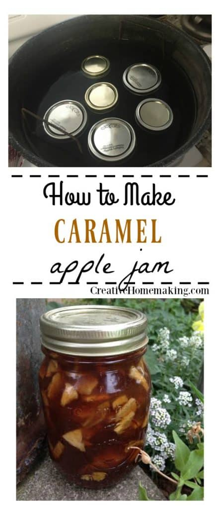 Easy recipe for canning caramel apple pie jam. One of my favorite fall canning recipes!
