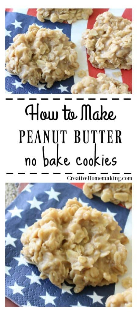 Easy recipe for peanut butter no bake cookies with old fashioned oats. One of my favorite no bake cookie recipes!