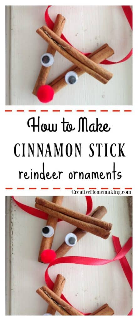 Cinnamon stick reindeer ornament. Easy DIY Christmas ornament for kids to make.
