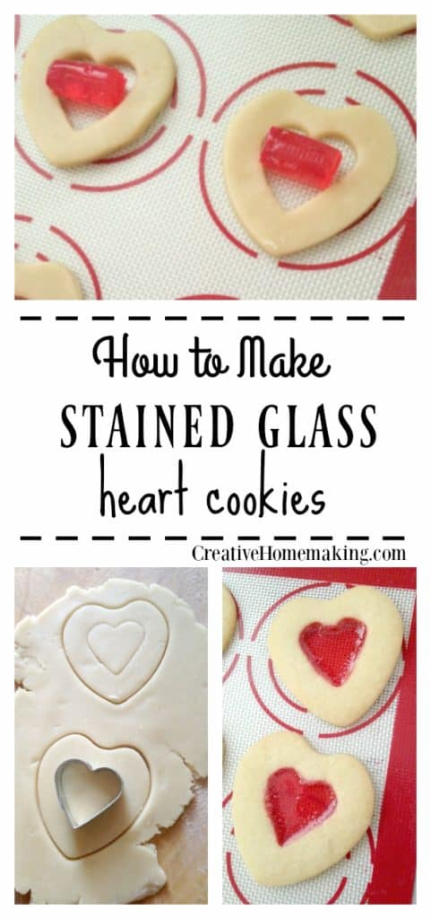 Easy recipe for homemade stained glass heart cookies to make for Valentine's Day. A great DIY treat for kids for Valentine's Day.