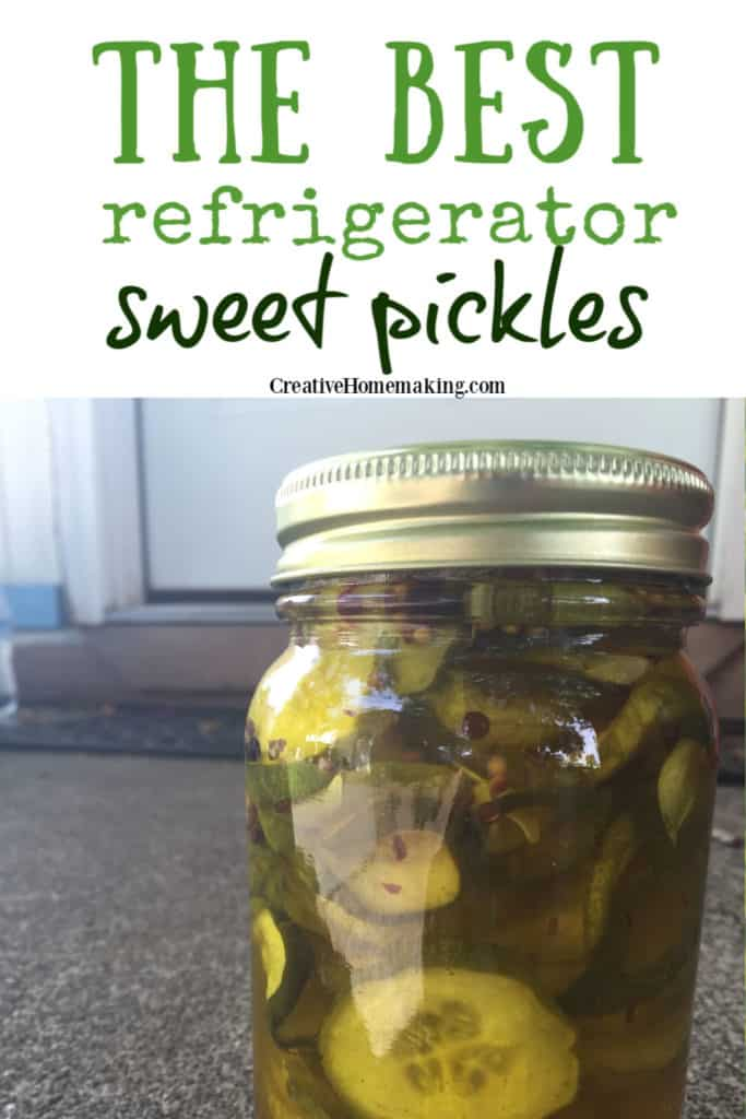 Easy recipe for the BEST easy refrigerator sweet pickles. One of the best pickle recipes I've ever tried!