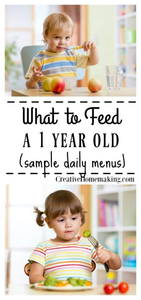 Sample daily breakfast, lunch, snack, and dinner menu for a 1 year old, including an easy recipe for homemade cream of vegetable soup.