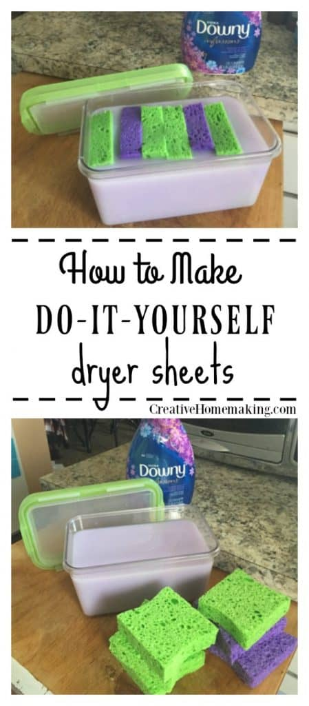 Tip for making your favorite laundry fabric softener last longer by making your own homemade dryer sheets.