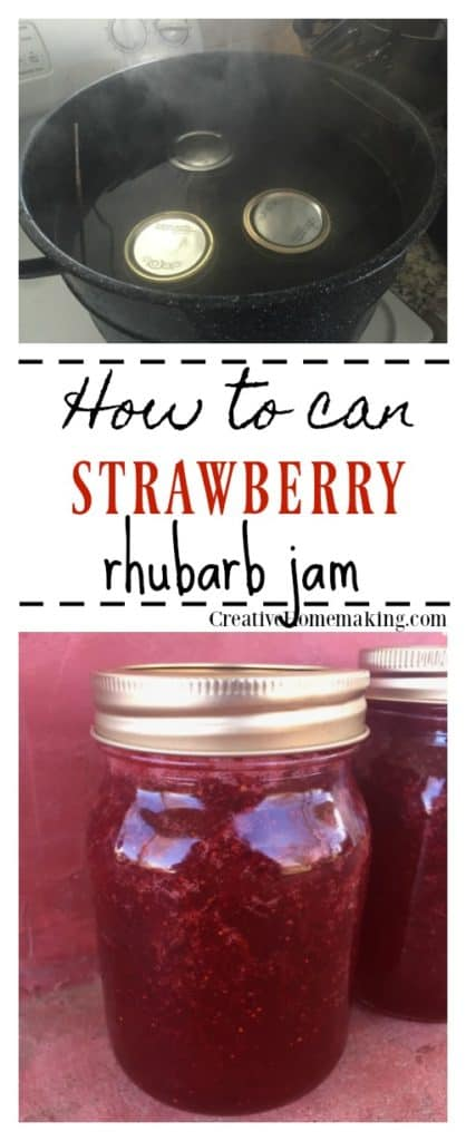 Easy step-by-step instructions for making and canning strawberry rhubarb jam from fresh strawberries and rhubarb from the garden.