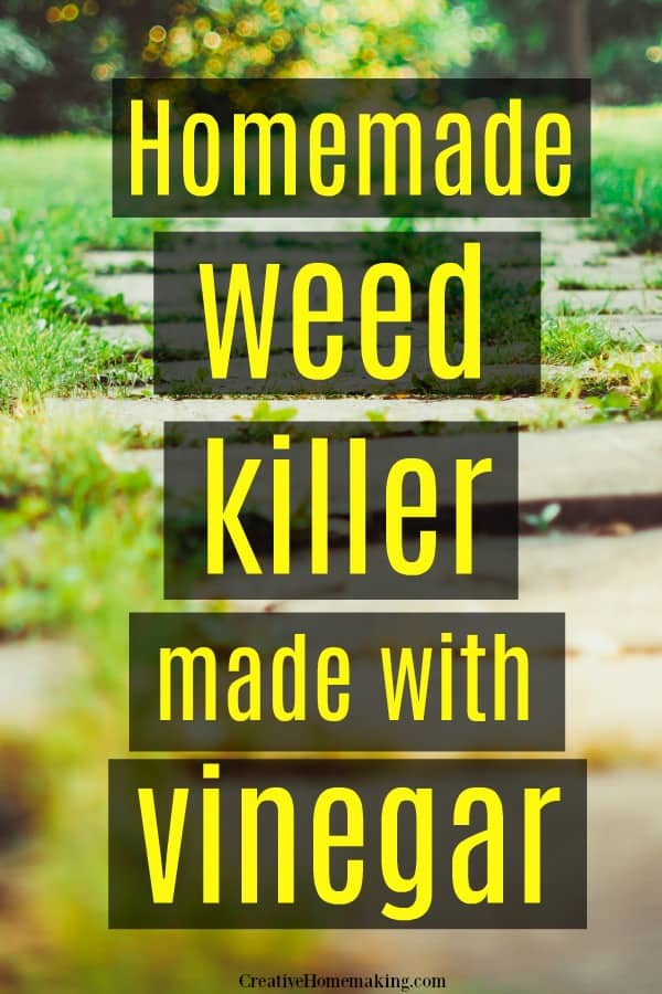 Easy DIY homemade weed killer made with salt and white vinegar. My favorite all natural way to kill weeds along sidewalks and retaining walls.