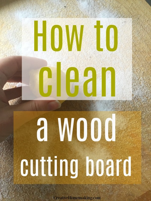 Clever kitchen cleaning hack for deep cleaning a wood cutting board.