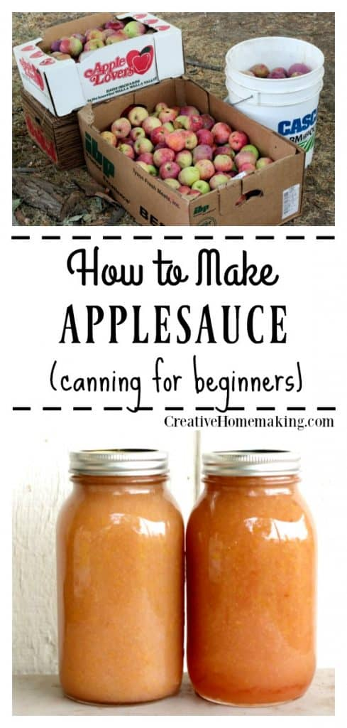 Canning applesauce. Easy recipe for making homemade applesauce.