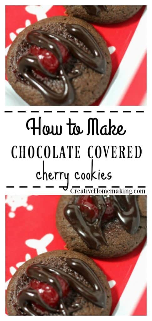 Easy recipe for chocolate covered cherry cookies. One of my favorite cookie recipes for Christmas cookie exchanges!