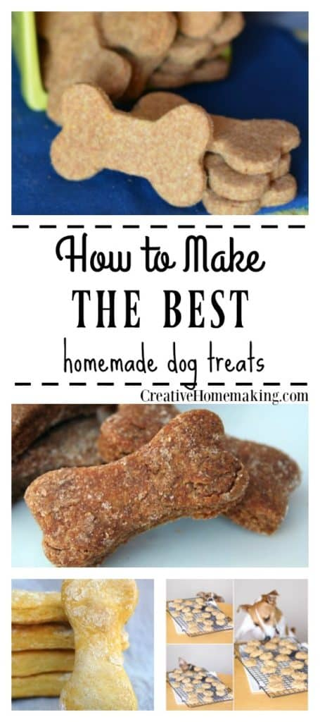 Recipes for the best homemade dog treats made with peanut butter, chicken, oatmeal, and more.