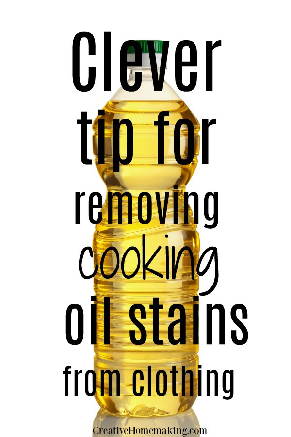 Clever tip for removing cooking oil stains from clothing. One of my favorite laundry cleaning hacks!