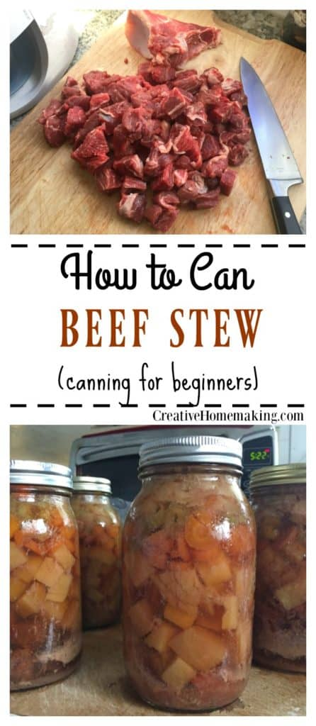 Canning raw stew. One of my favorite beef stew canning recipes.