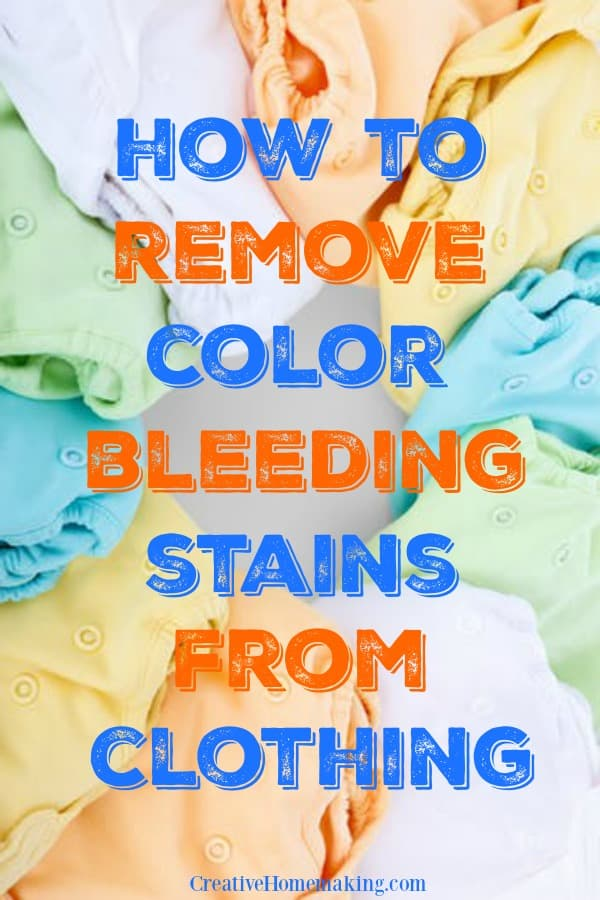 Removing color bleeding stains. Laundry cleaning tips for removing color that has bled from one piece of clothing to another.