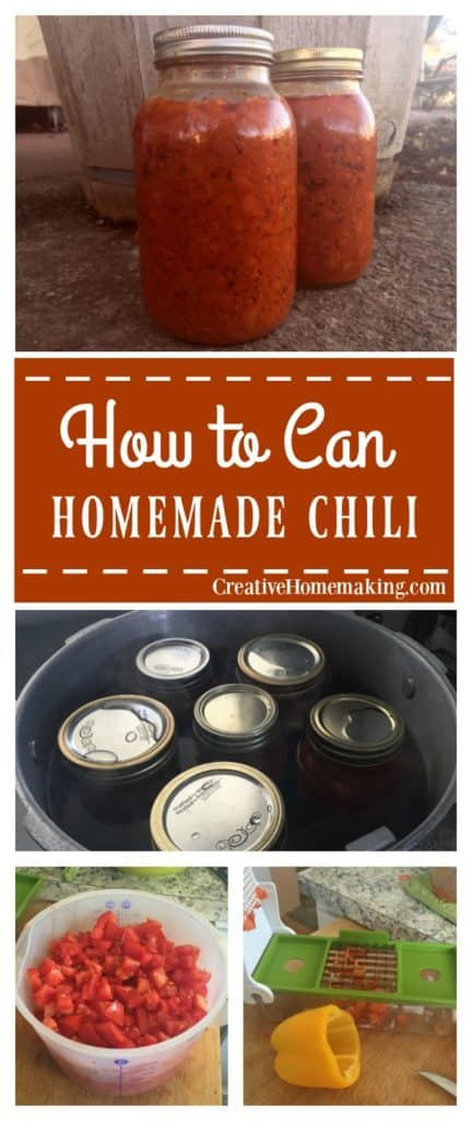 Canning chili with a pressure canner. Recipe and instructions for canning homemade chili.
