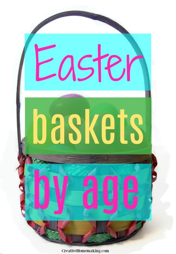 Easter basket with colorful plastic eggs.
