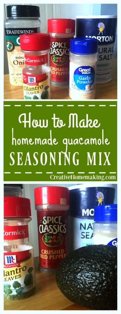 Ditch the store bought packets! Easy guacamole seasoning mix recipe for making homemade guacamole.
