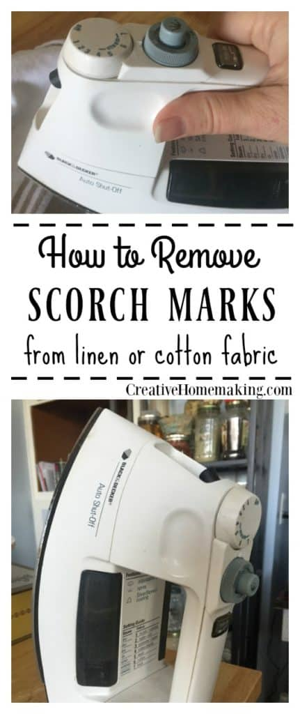 Removing scorch marks from linen or fabric.