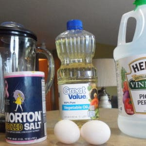 Homemade mayonnaise is very easy and inexpensive to make. All you need is a blender, oil, and an egg!