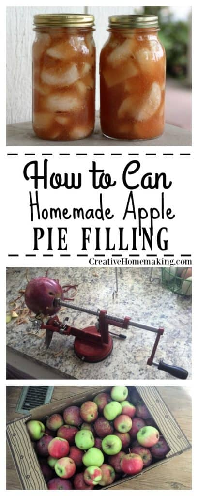 Recipe for water bath canning homemade apple pie filling from fresh apples.