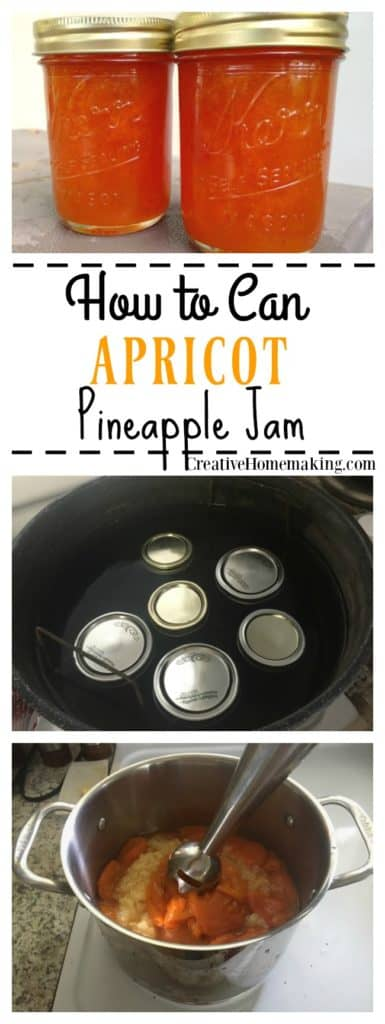 Easy recipe for making and canning apricot pineapple jam from fresh apricots.