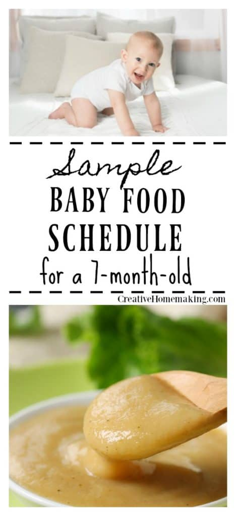Feeding tips and a daily menu plan for your 7 month old baby.