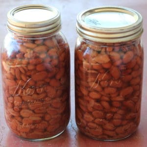 Recipe and instructions for canning dry beans with a pressure canner.