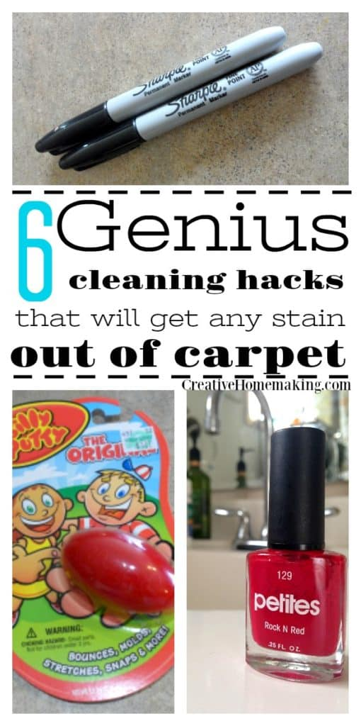 Trying to get a stubborn stain out of your carpet? These genius cleaning hacks will help you get silly putty, nail polish, candle wax, slime, and more out of carpet.
