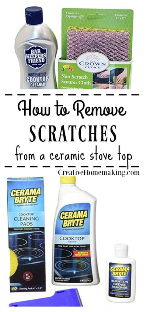 Easily clean and/or remove a scratch from your black ceramic glass stove top or cooktop with these helpful tips.