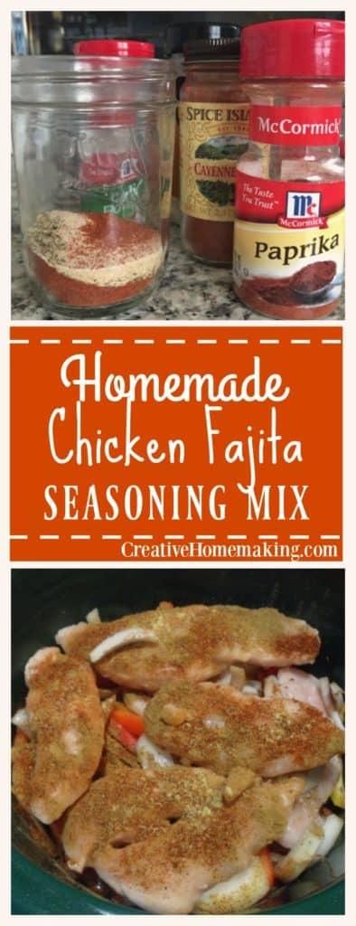 Easy homemade chicken fajita seasoning mix made from scratch. All natural and no additives or preservatives.